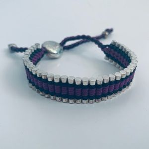 Jewelry - Purple and Black - Silver Friendship bracelet